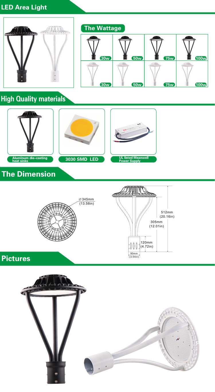 Newest 150W LED Post Top Lamps Street Light