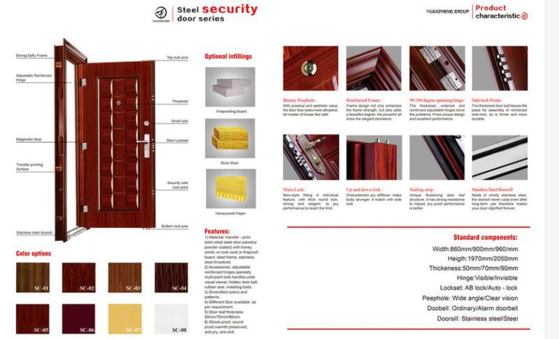 Exterior Style Good Quality Security Steel Doors for Bedroom