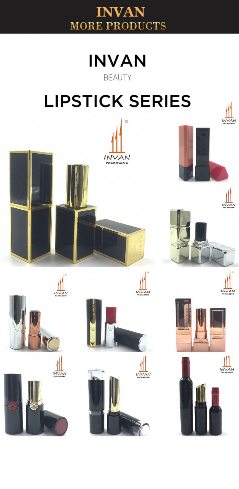 Mini Square Shiny Rose Gold or Soft Rubber Coating Lipstick Tube