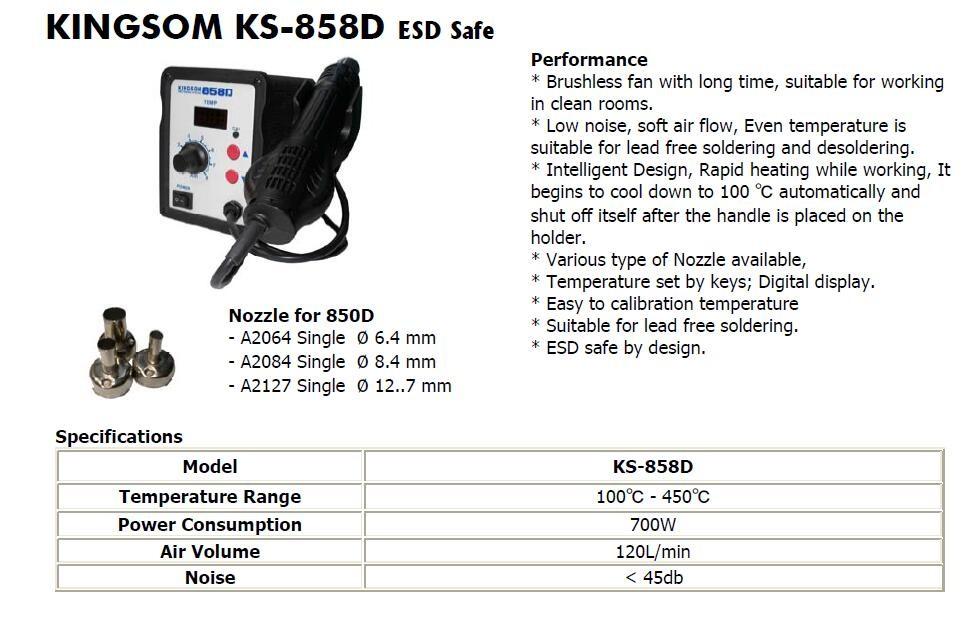 Máquina de reparación de teléfonos móviles 858D SMD Estación de retrabajo de soldadura de pistola de aire caliente para reparación de PCB