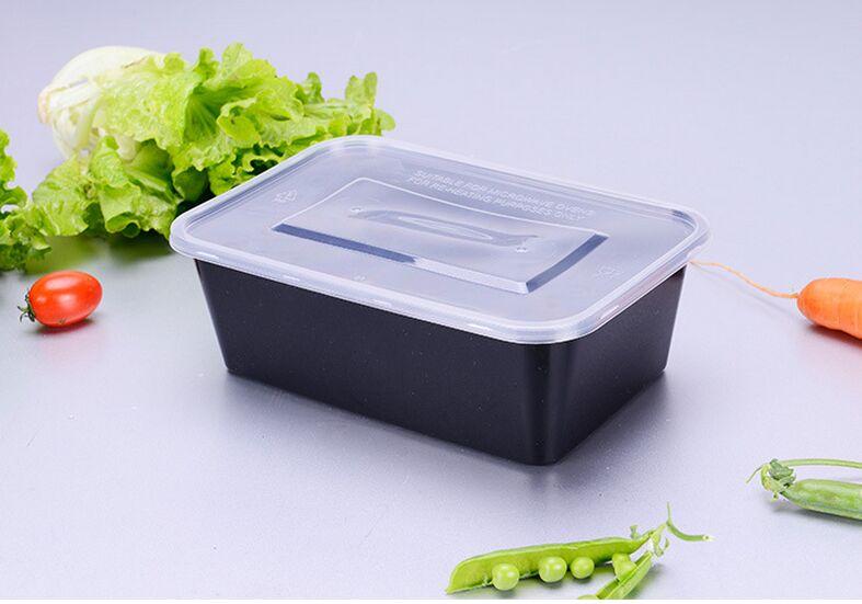 New Product Rectangular Black PP Lunch Box