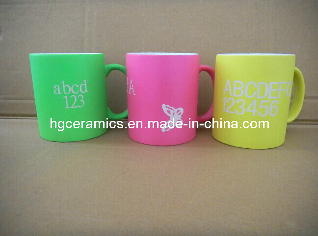 Neon Color Mug with Decal Printing, Promotional Neon Color Mug