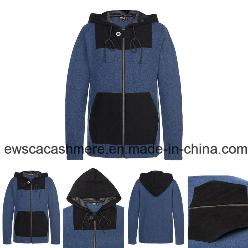 Men's Long Sleeve Hoodie Style Pure Cashmere Knitwear with Suede
