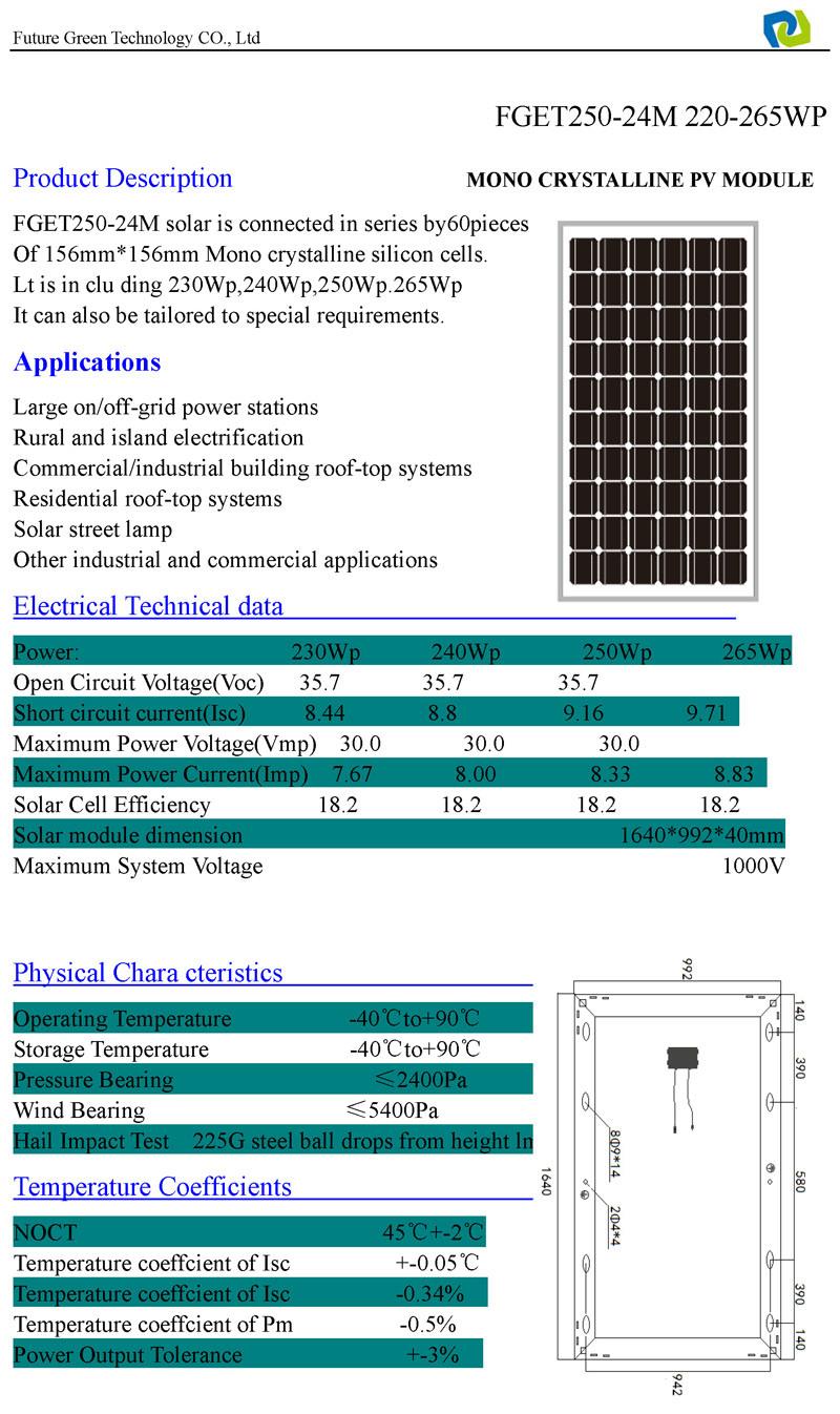 265W Cheap Monocrystalline Solar PV Energy Panel Cell