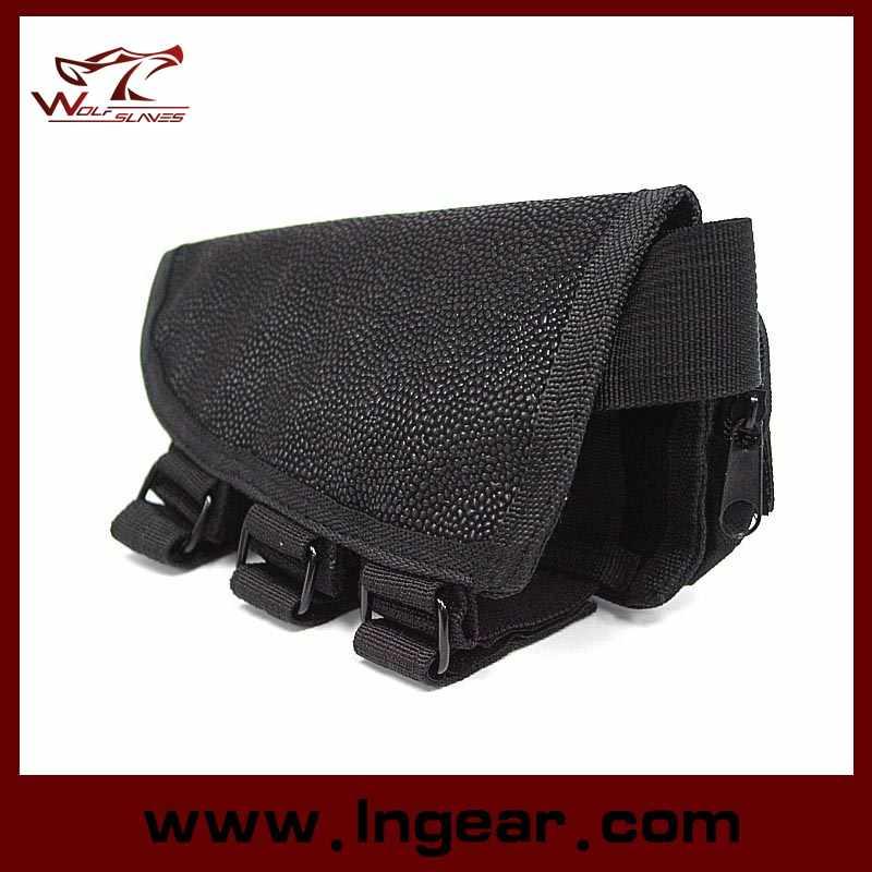 Tactical Airsoft Shotgun Rifle Ammo Pouch Cheek Pad Gun Bag Black