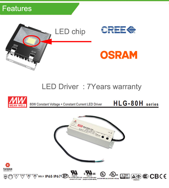 70W LED Flood Light with 7 Years Warranty Meanwell Driver