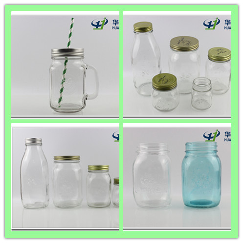 1oz-24oz Craft Glass Mason Jars with Handle and Straw Lid