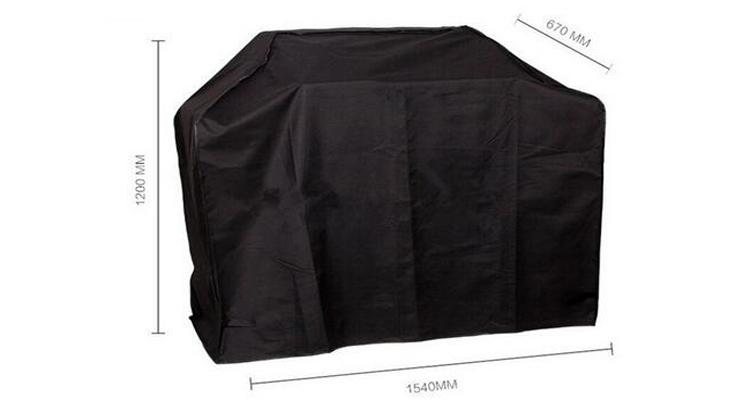 Waterproof Dustproof Oxford 300d PU Coated Black BBQ Cover