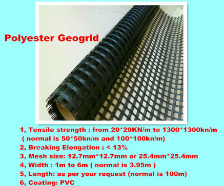Polyester Pet Fiberglass Plastic Biaxial Geogrid