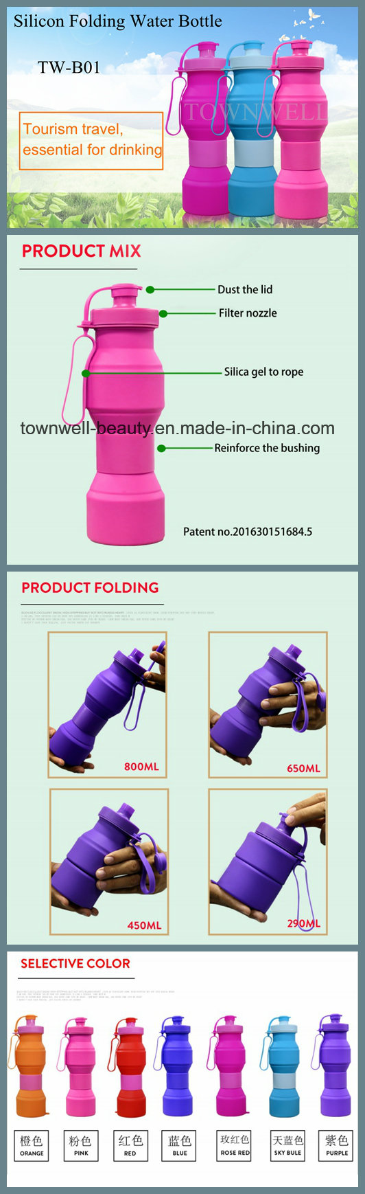 4 Capacities in 1 Bottle Silicone Foldable Water Bottle with Different Colors