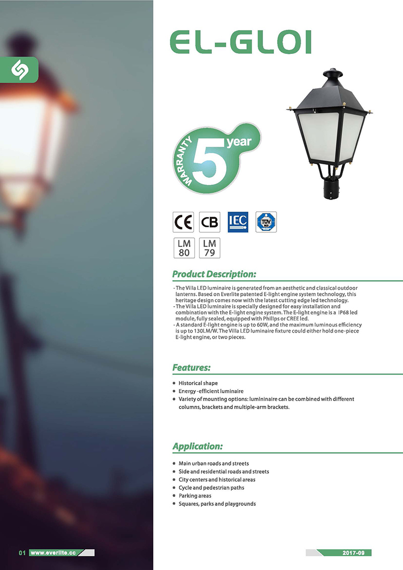 Villa LED Garden LED Light LED Post Top Lamp LED Lantern
