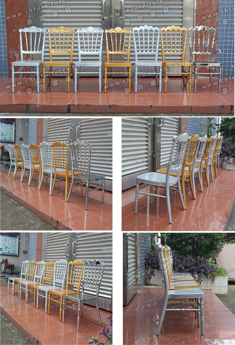Wholesale High Quality Stackable White Wedding Banquet Aluminum Napolen Tiffany Chiavari Chair for Event and Rental (YC-A08W)