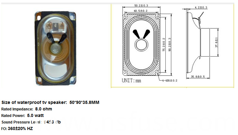 Fbsp5090 50*90mm 8ohm 5W Waterproof TV Speaker (FBELE)