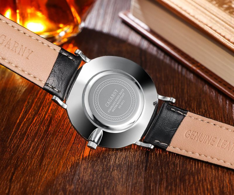 6812 Silver Case Roman Leather Wrist Watch for Men and Women