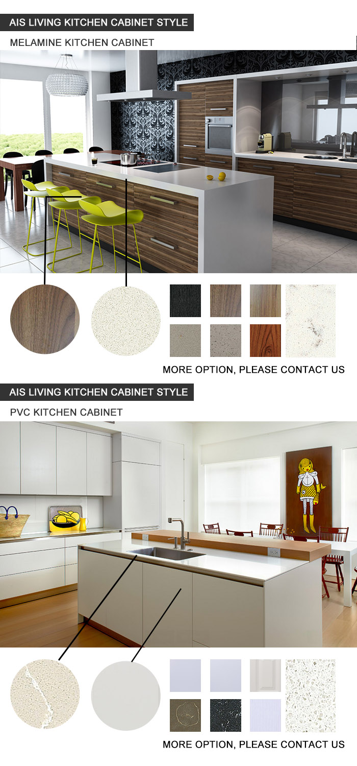 Foshan Factory Double Color Melamine Playwood Kitchen Cabinets Furniture (AIS-K948)