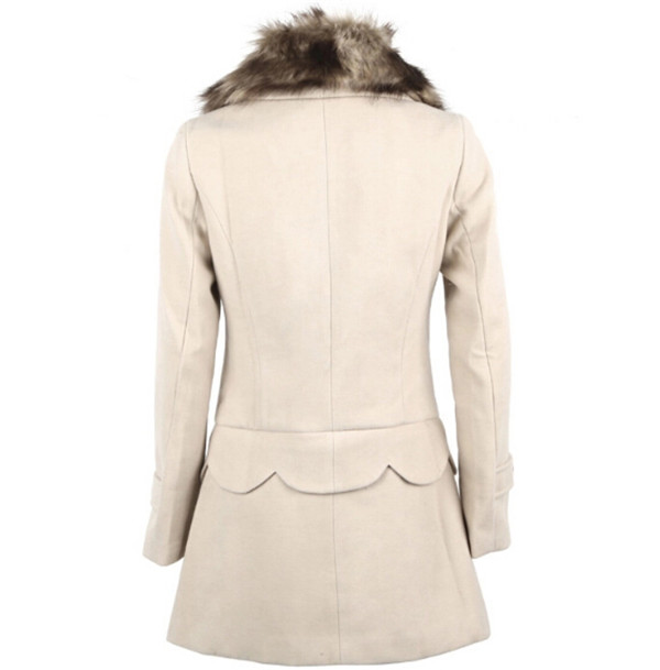 Korean Style Winter Long Jackets Multi Wear Fur Collar Double Breasted Women's Woolen Coat