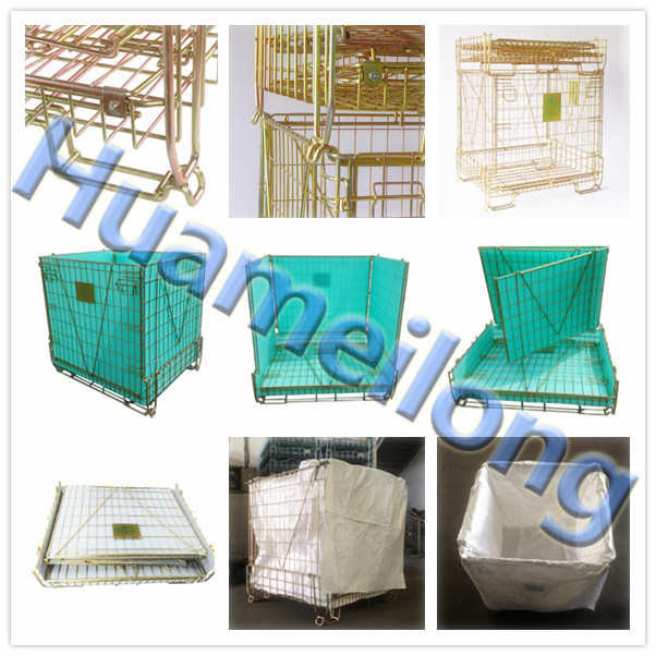 Euro Durable Foldable Metal Pet Preform Storage Wire Mesh Basket