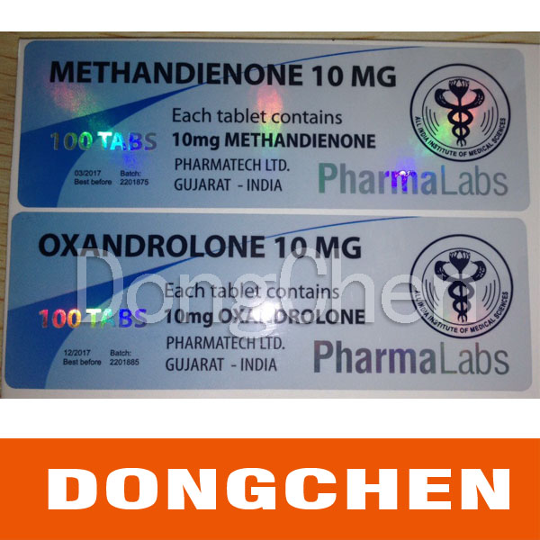 Custom Logo and Size Printed Waterproof Holographic Vial Label