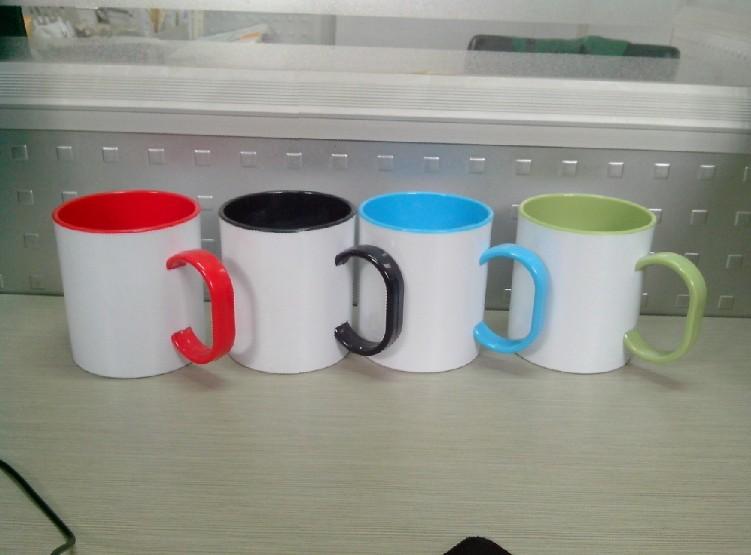 11oz Sublimation Coated Plastic Mug, Sublimation Coated Plastic Color Mug