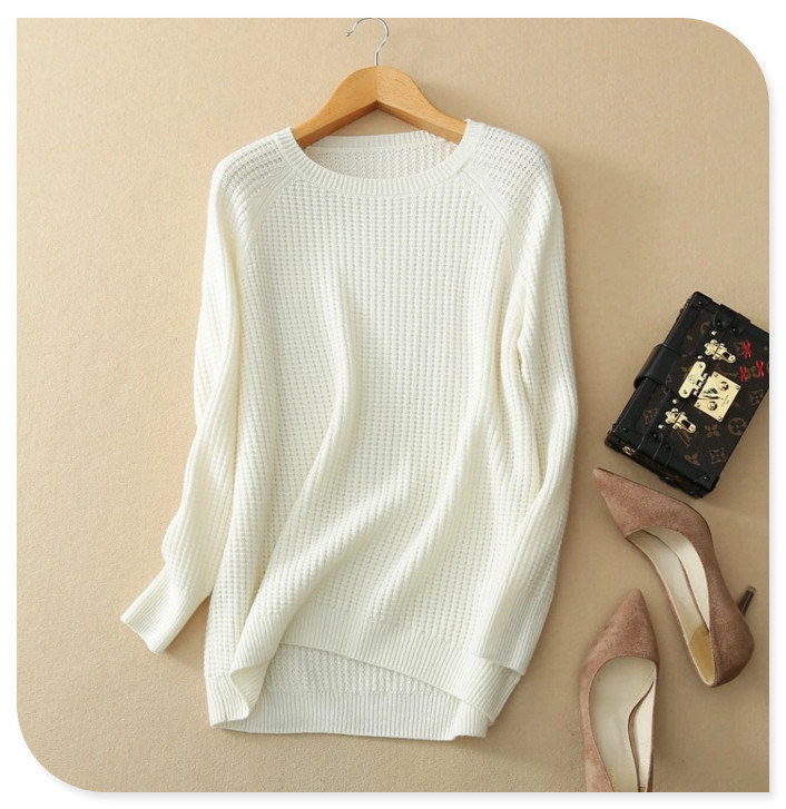 Women's Knitwear Pure Cashmere Sweater Pullover Solid Color with Long Sleeve O Neck