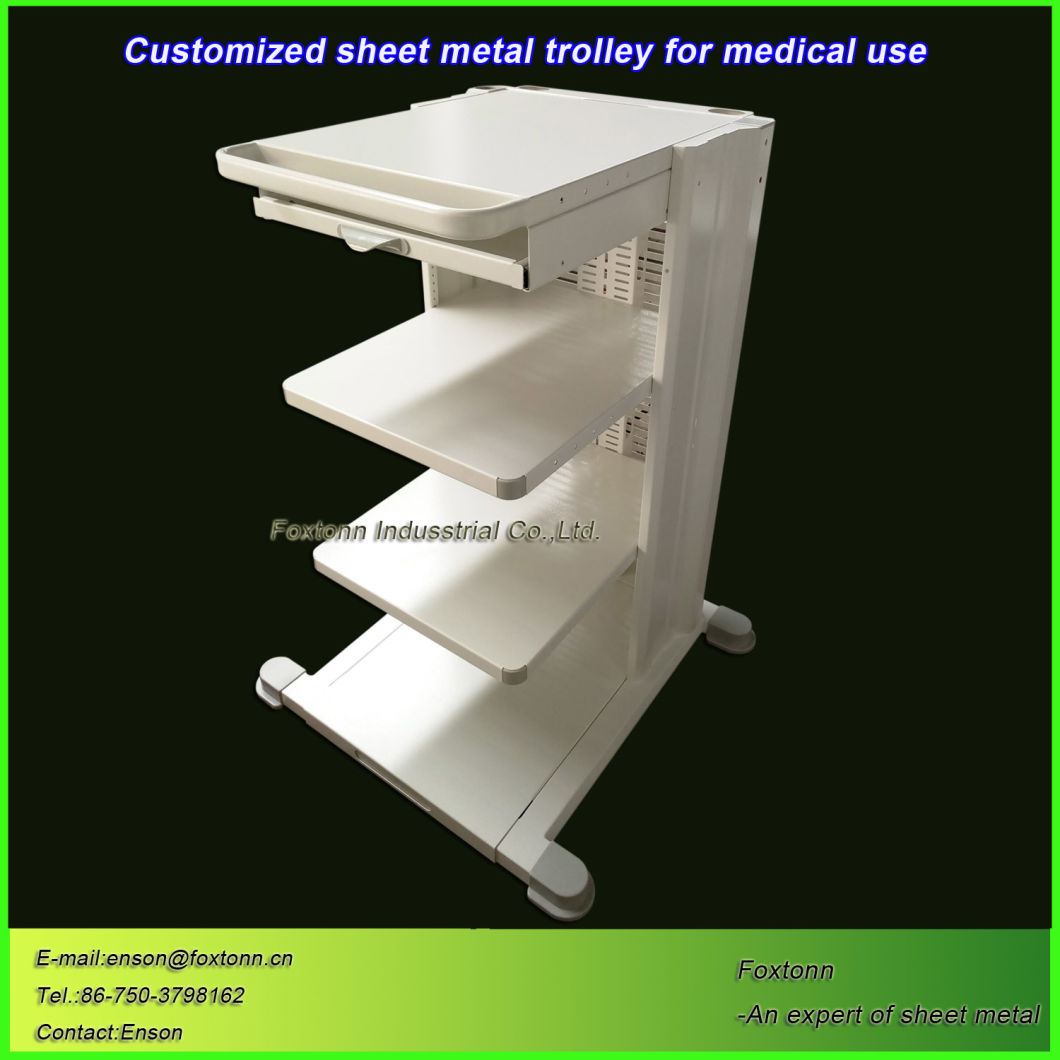 Sheet Metal Cart Hospital Trolley Customized for Medical Equipment