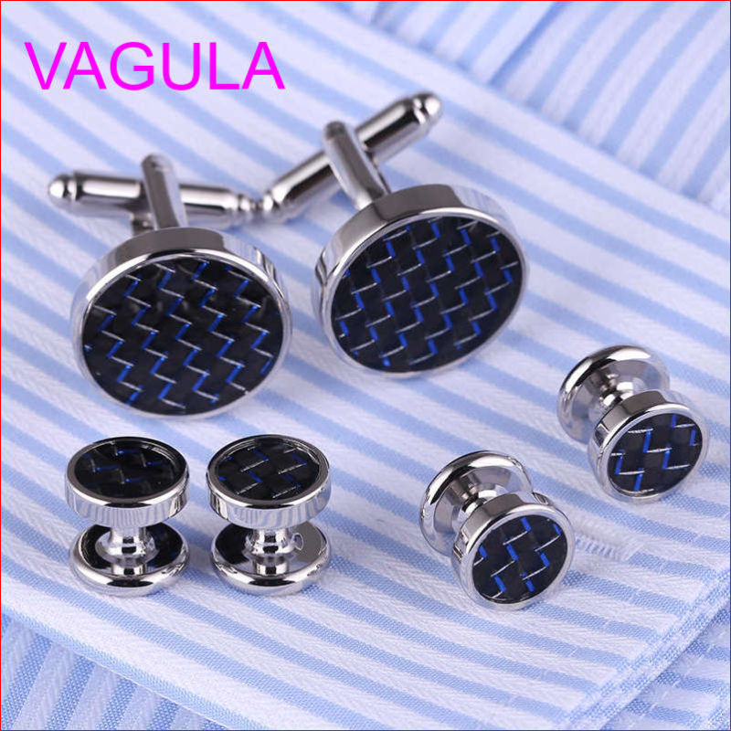 VAGULA Quality New Brass Gemelos Cufflinks Collar Studs in 6PCS Set (294)