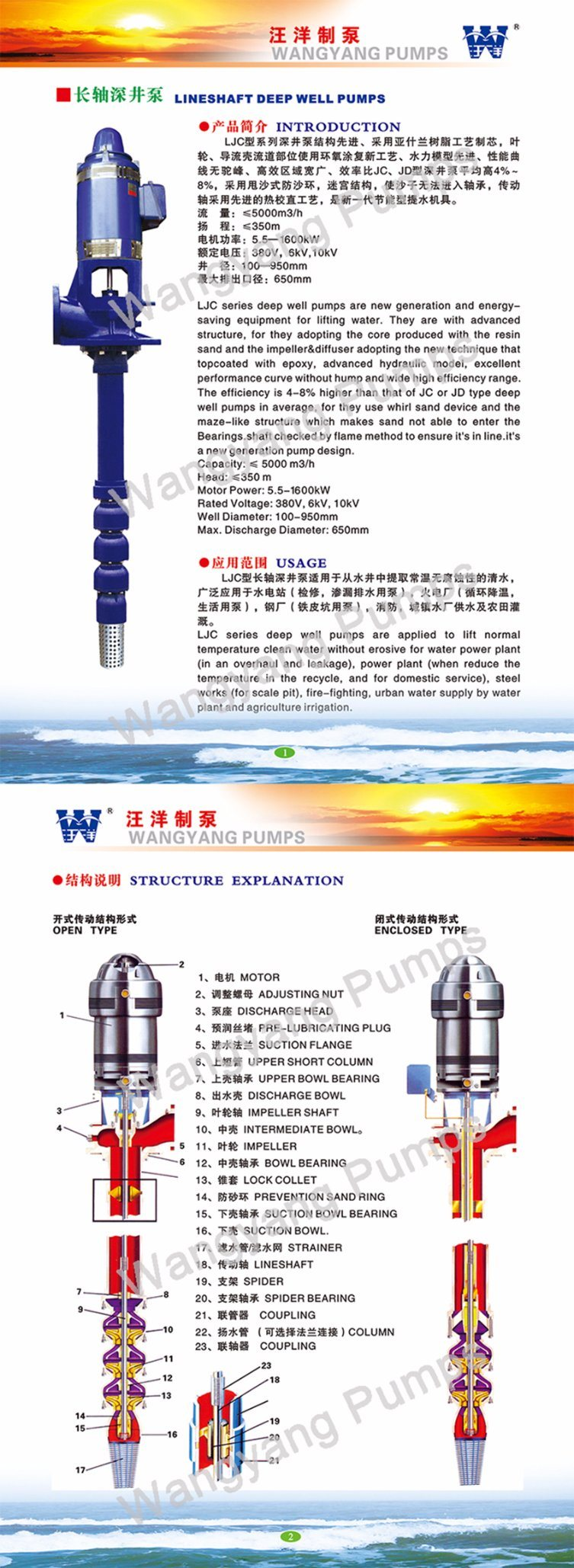 Multistage Long Shaft Vertical Turbine Deep Well Centrifugal Pump
