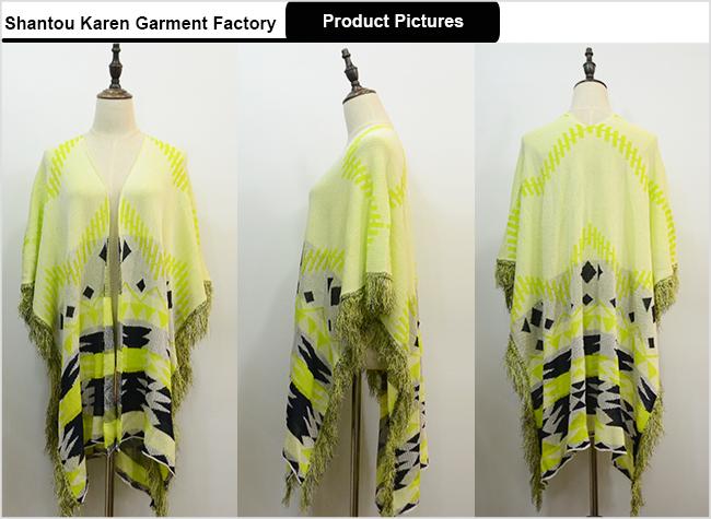 Women Yellow Striped Cardigan Poncho
