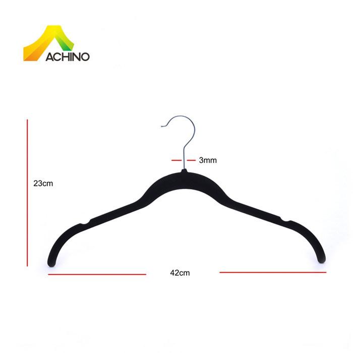 Achino Black Velvet Coat Hanger with U Notched Arm