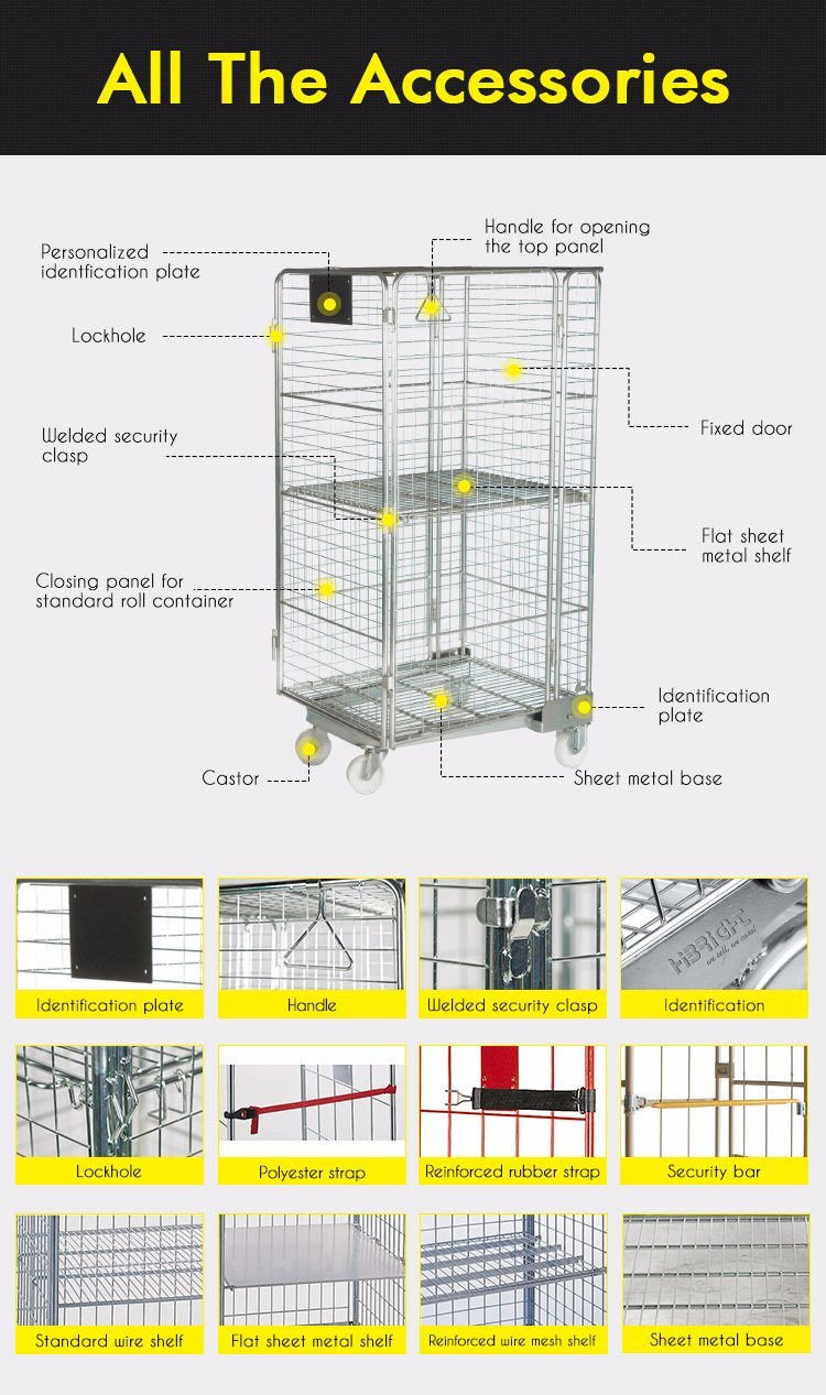 Warehouse Collapsible Security Roll Cage Nestable Roll Container