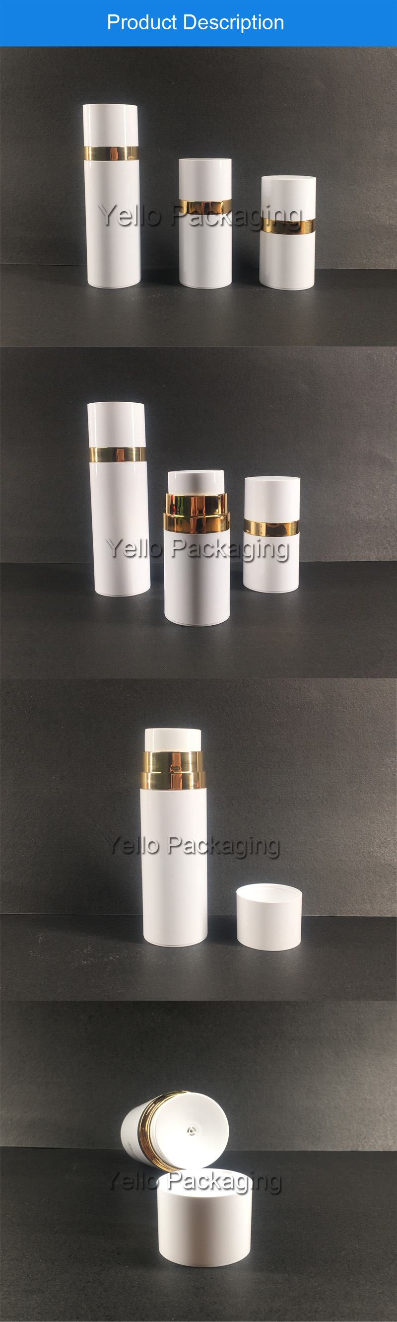 Cosmetic Packaging White Airless Pet Plastic Bottle