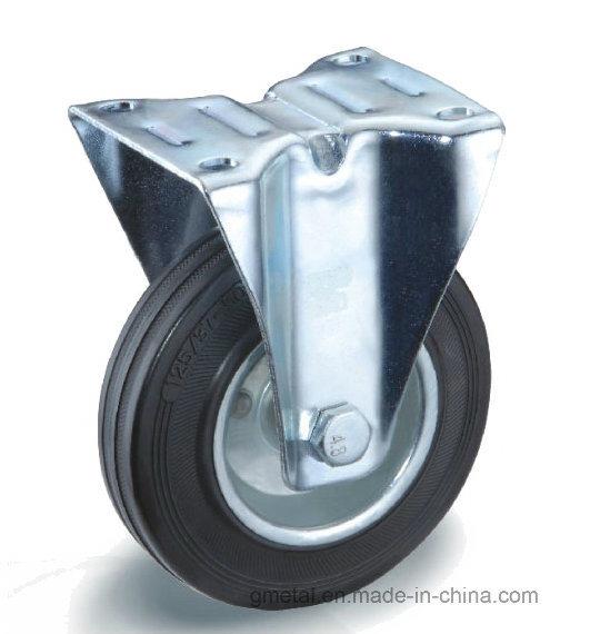 Black Rubber Castor Steel Rim and Roller Bearing