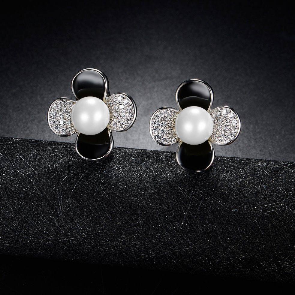 Popular Jewelry Fashion Women Gold Stud Pearl Earring