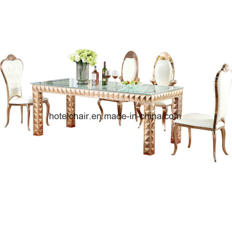 Square Glass Top Gold Color Metal Dining Table (FD-012T)