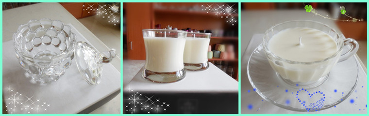 Fashion White Scented Soy Wax Candle in Glass Jar