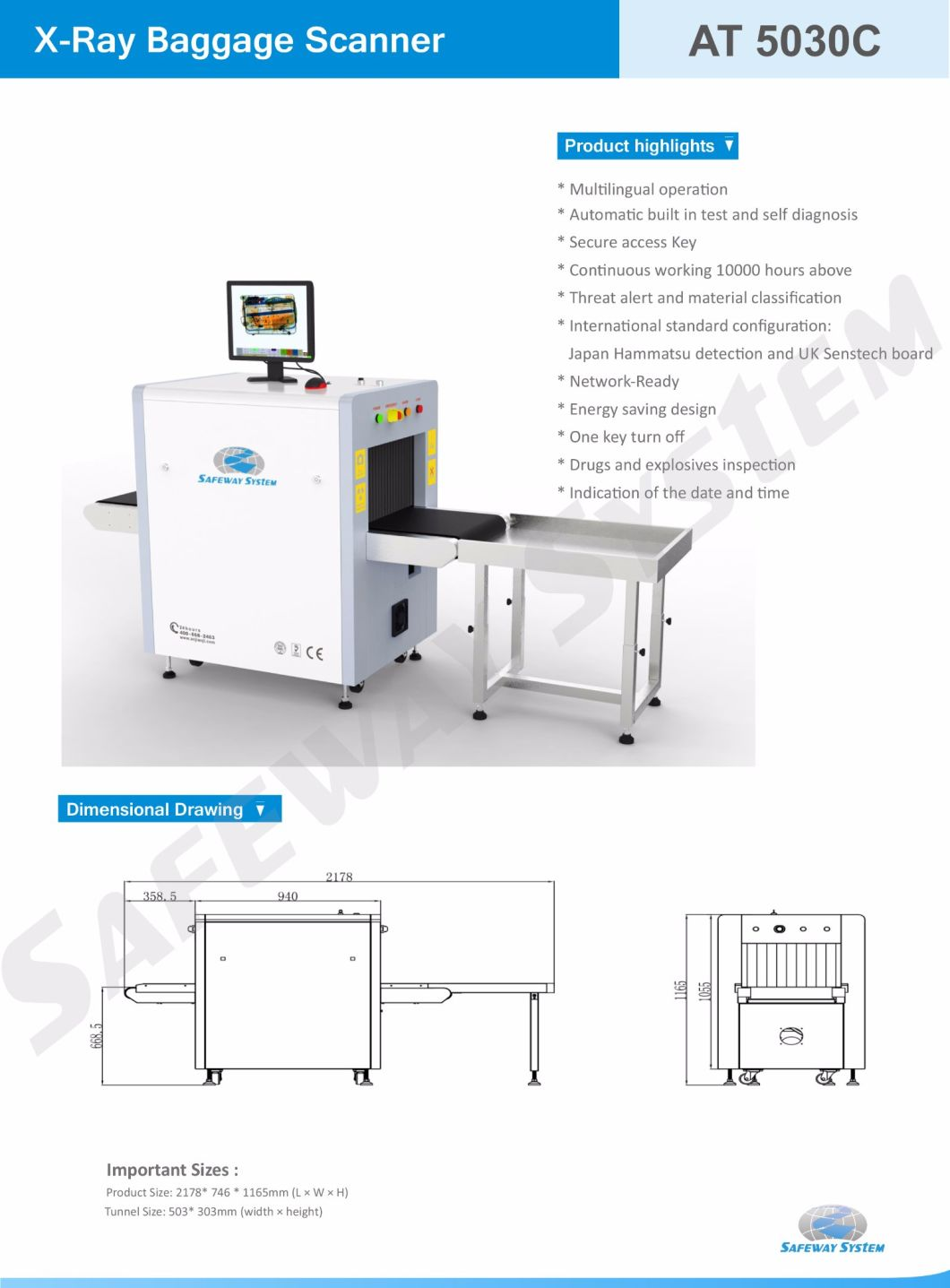 X Ray Detection Machine X-ray Baggage Scanner for Security Cheking