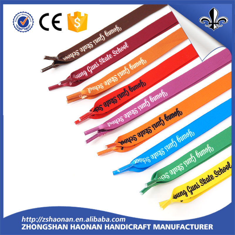 Wholesale Design Flat Silkscreen Printed Logo Women Shoelaces