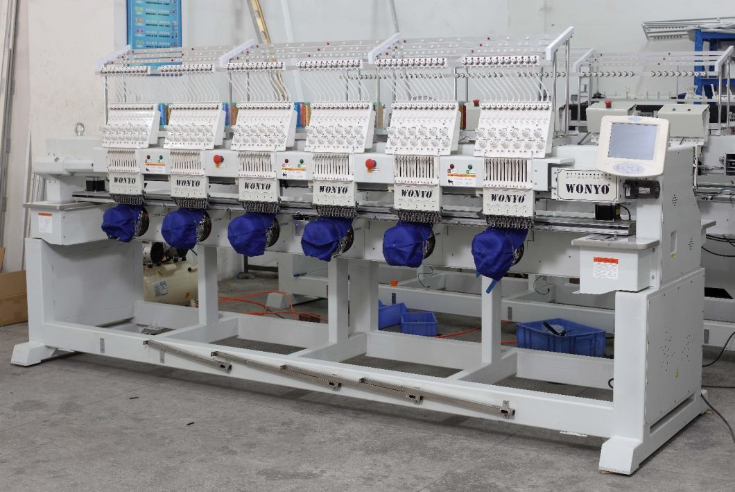New, 6 Heads 9/12 Colors Embroidery Machine, Cap, Jacket, T-Shirt, Flat Embroidery