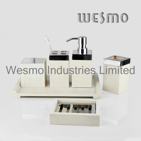 White Washed Color Bamboo Bath Accessories (WBB0304B)