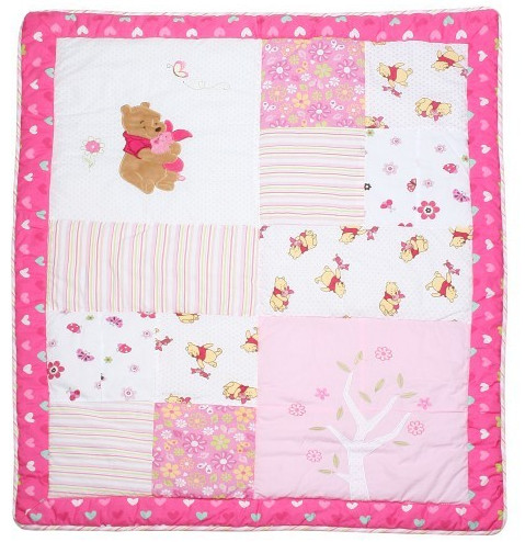 Patchwork Quilt Wholesale in Pink Winnie Pattern Lovely for Baby Crib