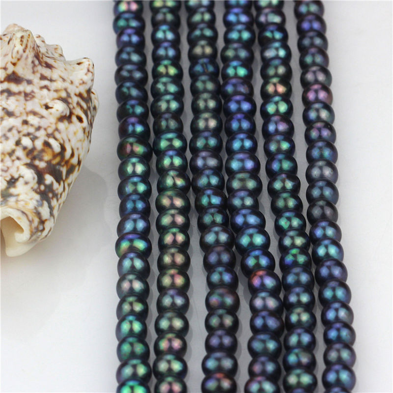Freshwater Near Round Pearl Strand 7-8 mm AA Peacock Pearl Strings Wholesale