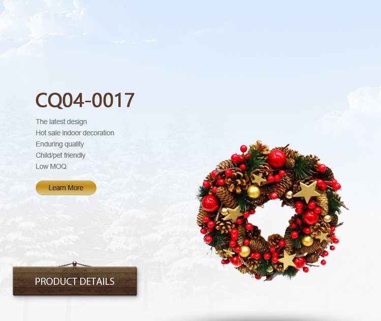 Dia. 35cm Newly Home Hotel Decoration Christmas Flower Wreath Plastic Outdoor Decoration