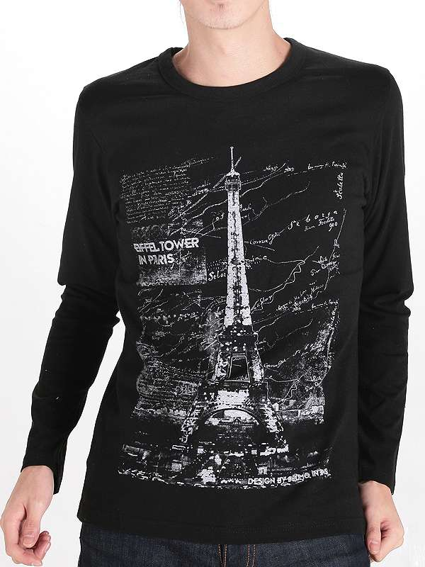Tower Design Printing Black Cotton Custom Long Sleeve Men T Shirt