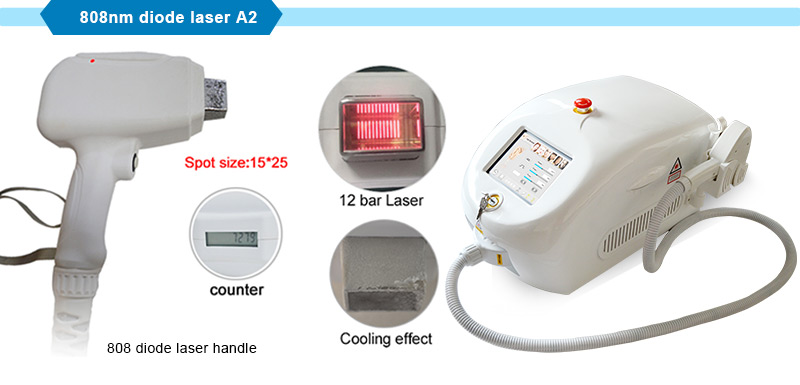 Portable 808nm Diode Laser Machine Permanent Hair Removal with 12 Bars
