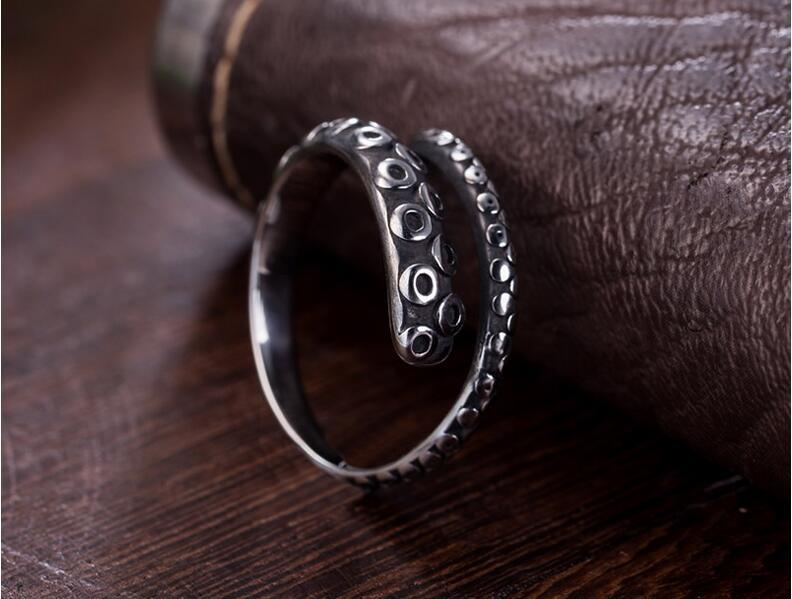925 Sterling Silver Male Ring Octopus Modelling Retro Colorhalf Open