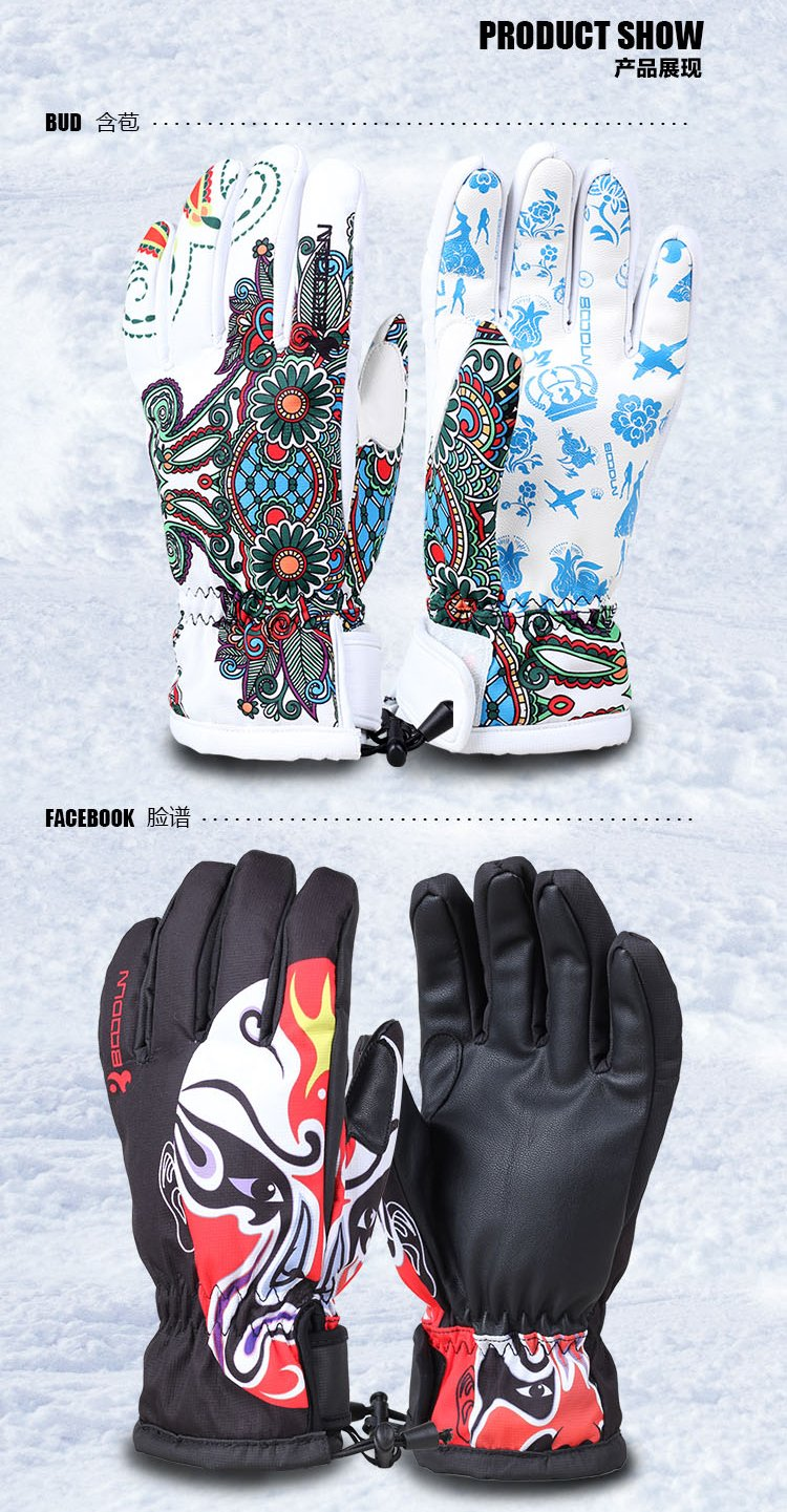 Water-Proof Skiing and Thinsulate Leather Snow Boarding Glove