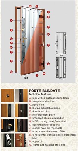 Popular Design Entrance Wood Security Door for Iran Market