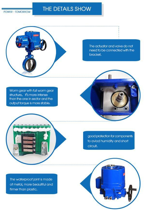 Qt Motorized Actuator 90 Degree Angle Electric Butterfly Valve