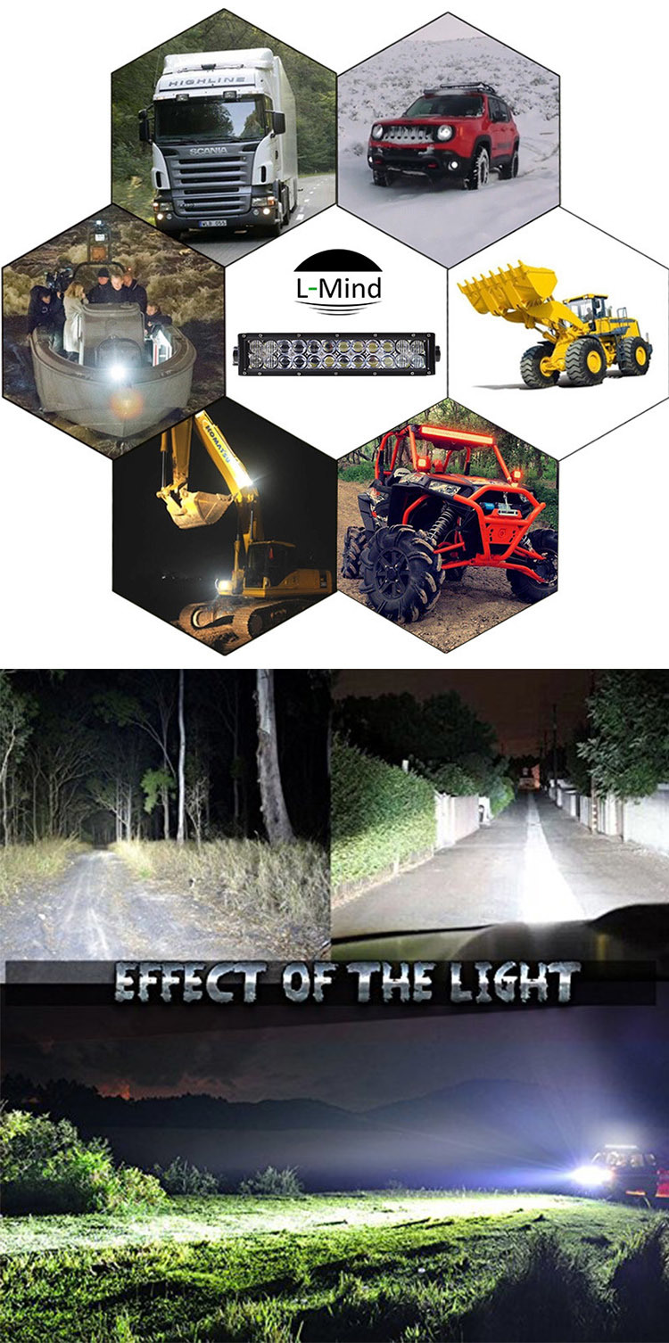 5D Lens SUV Truck Driving Light CREE Mixed Spot Flood Combo Beam Curved LED Light Bar