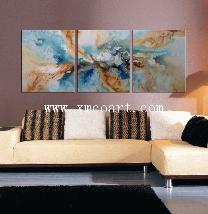 Handmade Modern Group Abstract Oil Painting